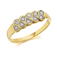 9ct Gold Diamond Double Weave Band Ring - 10pts - D8004-L