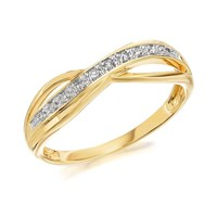 9ct Gold Diamond Crossover Kiss Ring - 5pts - D8008-L
