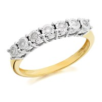 9ct Gold Diamond Half Eternity Ring - 12pts - D8010-K