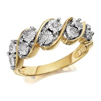 9ct Gold Diamond Five Row Band Ring - 8pts - EXCLUSIVE - D8013-K
