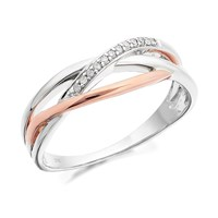 9ct Two Colour Gold Diamond Three Strand Crossover Ring  6pts  D8017P