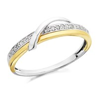 9ct Gold Two Colour Diamond Swirl Ring - 9pts - D8018-K