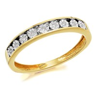 9ct Gold Diamond Half Eternity Ring - 5pts - D8022-P