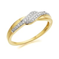 9ct Gold Diamond Crossover Ring - 10pts - EXCLUSIVE - D8028-Q