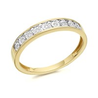 9ct Gold Diamond Half Eternity Ring - 4pts - D8031-K