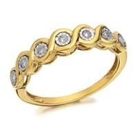 9ct Gold Diamond Ripples Ring - 10pts - D8036-L