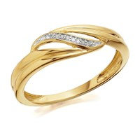 9ct Gold Diamond Wave Ring - D8039-M