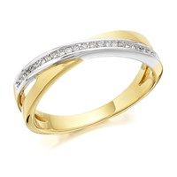 9ct Gold Two Colour Diamond Crossover Band Ring - 7pts - D8043-L