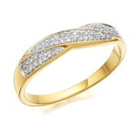 9ct Gold Diamond Crossover Band Ring - 15pts - D8048-O