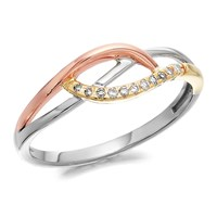 9ct Three Colour Gold Diamond Crossover Ring - 5pts - D8065-Q