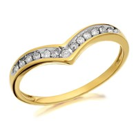 9ct Gold Diamond Wishbone Ring - 10pts - D8070-K