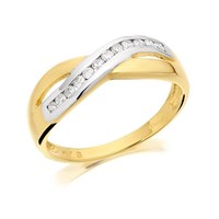 9ct Gold Two Colour Diamond Crossover Half Eternity Ring - 15pts - D8076-L