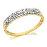 9ct Gold Pave Set Diamond Band Ring - 1/4ct - D8081-Q