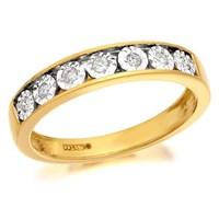 9ct Gold Diamond Half Eternity Ring - 10pts - D8085-R