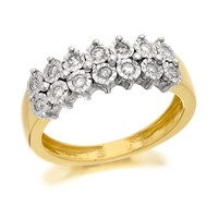 9ct Gold Two Row Diamond Ring - 15pts - D8086-N