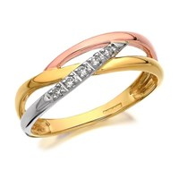 9ct Three Colour Gold Diamond Crossover Ring - D8095-L