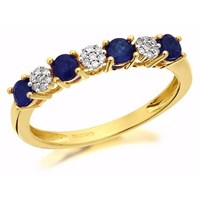 9ct Gold Sapphire And Diamond Ring - D8102-N