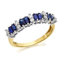 9ct Gold Sapphire And Diamond Band Ring - 20pts - D8104-O