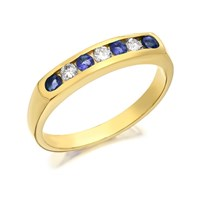 9ct Gold Diamond And Sapphire Half Eternity Ring - 20pts - D8112-P