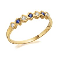 9ct Gold Sapphire And Diamond Ring - 10pts - D8113-S