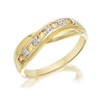 9ct Gold Diamond And Yellow Sapphire Crossover Half Eternity Ring - D8139-M