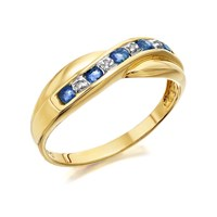 9ct Gold Sapphire And Diamond Crossover Half Eternity Ring - D8141-N