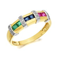 9ct Gold Ruby, Sapphire, Emerald And Diamond Band Ring - D8146-L