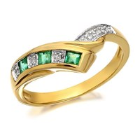 9ct Gold Diamond And Emerald Wishbone Ring - D8204-J