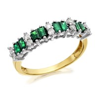 9ct Gold Emerald And Diamond Band Ring - 20pts - D8205-O