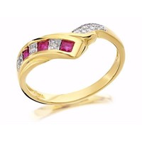 9ct Gold Diamond And Ruby Wishbone Ring - EXCLUSIVE - D8208-L