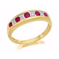 9ct Gold Diamond And Ruby Half Eternity Ring - D8209-N