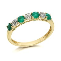 9ct Gold Emerald And Diamond Ring - D8210-N