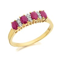 9ct Gold Ruby And Diamond Ring - 11pts - D8211-R