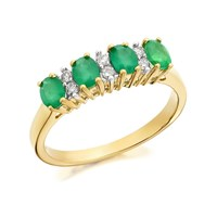 9ct Gold Emerald And Diamond Ring - 11pts - D8212-O
