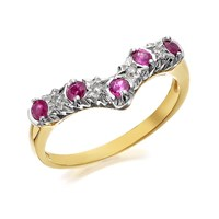 9ct Gold Ruby And Diamond Wishbone Ring  D8219P
