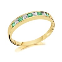 9ct Gold Diamond And Emerald Half Eternity Ring - D8221-J