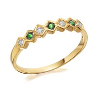 9ct Gold Emerald And Diamond Ring - 10pts - D8222-M