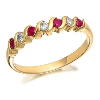 9ct Gold Diamond And Ruby Wave Ring - 11pts - D8223-Q
