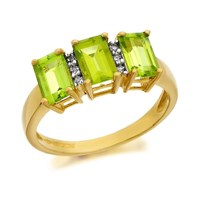 9ct Gold Diamond And Peridot Ring - D8231-S