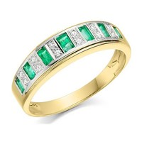 9ct Gold Diamond And Emerald Band Ring - D8236-J