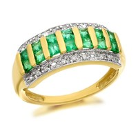 9ct Gold Princess Cut Emerald And Diamond Band Ring - 5pts - D8248-M