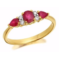 9ct Gold Ruby And Diamond Ring - 11pts - D8252-O