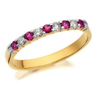 9ct Gold Ruby And Diamond Half Eternity Ring - 12pts - D8256-K