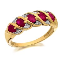 9ct Gold Ruby And Diamond Band Ring - D8260-O