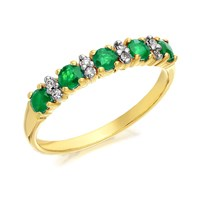 9ct Gold Emerald And Diamond Half Eternity Ring - D8261-K