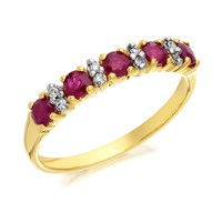 9ct Gold Ruby And Diamond Half Eternity Ring - D8262-S