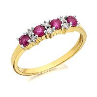 9ct Gold Diamond And Ruby Ring - D8265-J