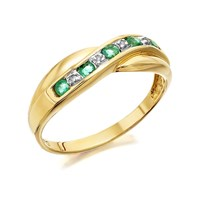 9ct Gold Emerald And Diamond Crossover Half Eternity Ring - D8267-J