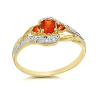 9ct Gold Fire Opal And Diamond Crossover Ring - D8407-J