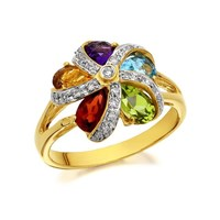 9ct Gold Diamond And Precious Gemstone Flower Ring - 13pts - D8409-J